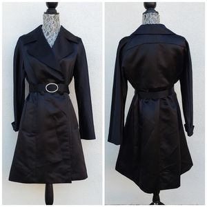 INC INTERNATIONAL CONCEPTS Black Satin Trench Coat